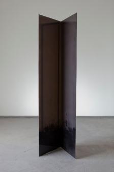 block (dark) M Dark Plexiglas 195X45 cm , ink on canvas, black metal frame