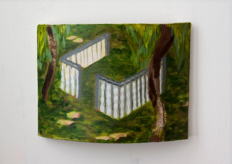 Fence, oil on canvas on curved wood, 35X27X11.5 cm, 2018